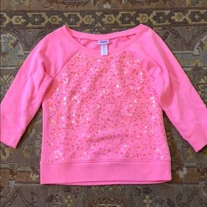 Justice Pink Sequin 3/4 sleeved sweatshirt